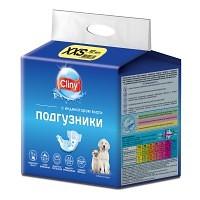 Cliny подгузники для собак и кошек 1,5 - 2,5 кг (размер XXS), 12 шт