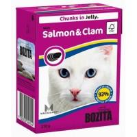 BOZITA FELINE SALMON & CLAM - мясные кусочки в желе с лососем и мидиями.
