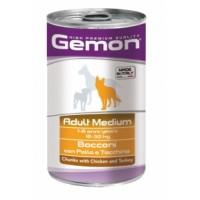 Gemon Dog Medium - консервы для собак средних пород кусочки курицы с индейкой.