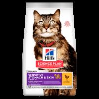 Hill's Science Plan Sensitive Stomach & Skin сухой корм для взрослых кошек для здоровья ЖКТ с курицей (деликатный)