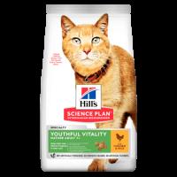Hill's Science Plan Youthful Vitality сухой корм для кошек старше 7 лет для повседневного питания курица с рисом